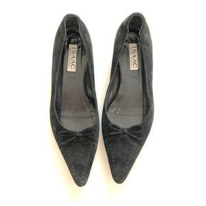 Issac Mizrahi NY Black Suede Pointed Toe Flats